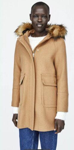 14 Xl Zara con tasche 16uk con Cappotto di lana cappuccio taglia Cammello waxEvqfz