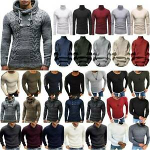 Mens-Winter-Knitwear-Long-Sleeve-Chunky-Knitted-Warm-Jumper-Pullover-Sweater-Top