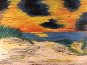 Abendsonne-am-Meer-Strand-Ufer-Expressiv-Anonym-35-x-50-Modern-Art