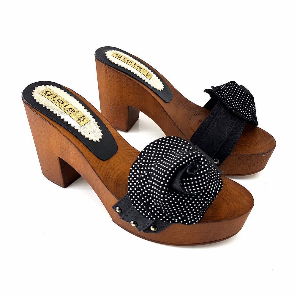 Zoccoli Comodi Pelle -Scarpe Made in  dal 35 al al al 41 - Tacco 9 -SIMONA NERO 67ad03
