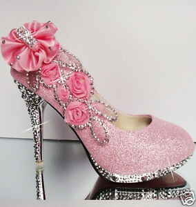 Pink beautiful vogue lace flowers crystal high heels wedding bridal image is loading pink beautiful vogue lace flowers crystal high heels mightylinksfo