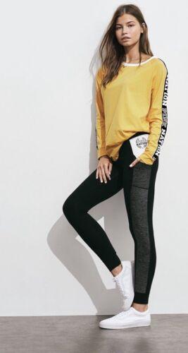 New VICTORIA/'S SECRET PINK Yellow Campus Crew Top Cotton Leggings Med 2pc Set