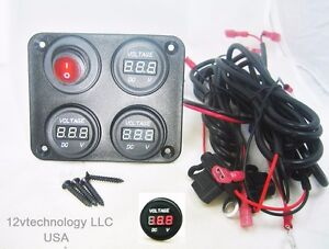 Fast-Install-12V-Battery-Voltmeter-Monitor-Three-Banks-w-Switch-House-Starting