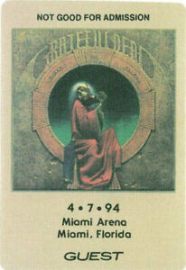 Grateful-Dead-RARE-4-07-1994-Miami-Arena-Backstage-Guest-Pass-Blues-for-Allah