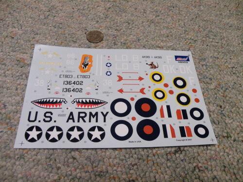 Revell Monogram decals 1//48 48002 P-40E Warhawk Kittyhawk    D41 Amtech