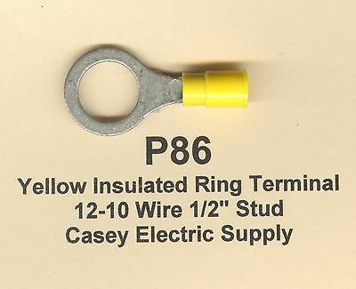 "50 Yellow Insulated RING Terminal Connectors #12-10 Wire AWG 1/2"" Stud MOLEX"