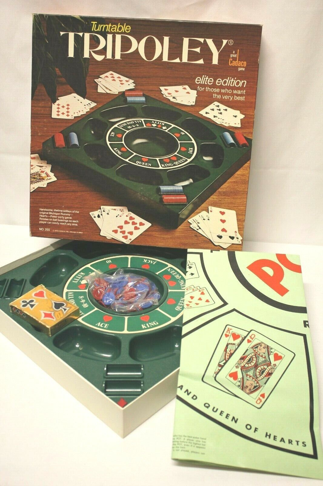Vtg Deluxe Turntable TRIPOLEY Elite Edition Game 1976 Cadaco No.255 + Rummy Mat