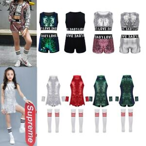 ad3128fb2e87 Image is loading Street-Dance-Wear-Costume-Girls-Outfit-Sequins-Kids-