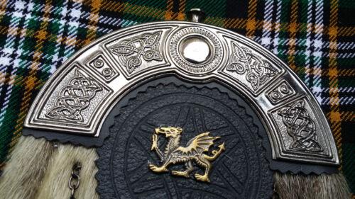 Nouveau complet robe kilt sporran formel peau de phoque celtique troussequin antique dragon gallois