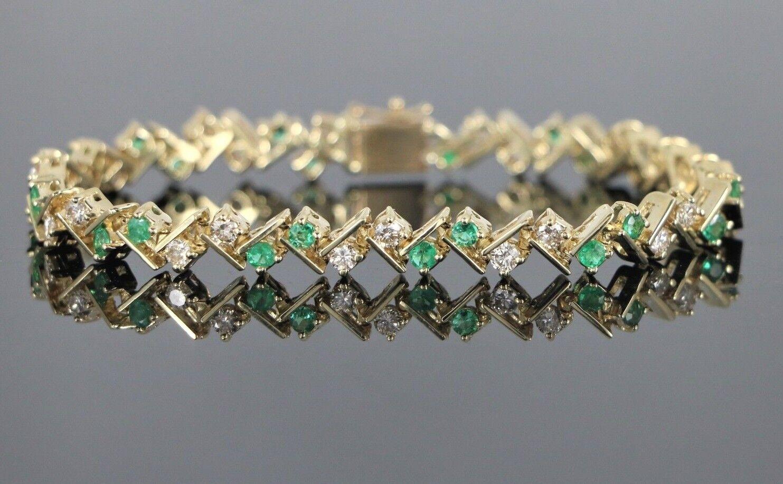 4,295 Estate 14K Yellow gold Green Emerald Round Diamond 7.5'' Tennis Bracelet