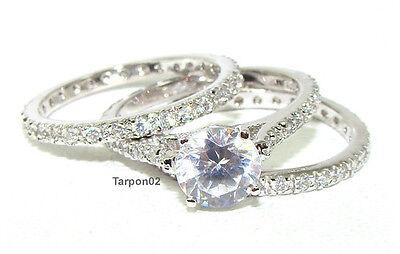Epiphany Diamonique 2.00ct. Eternity Wedding.Bridal (3-Pcs) Ring qvc Set-7  NEW