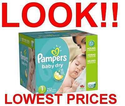 BULK - UP TO 1,104 COUNT - PAMPERS BABY DRY DIAPERS SIZE 0,1,2,3,4,5,6 newborn