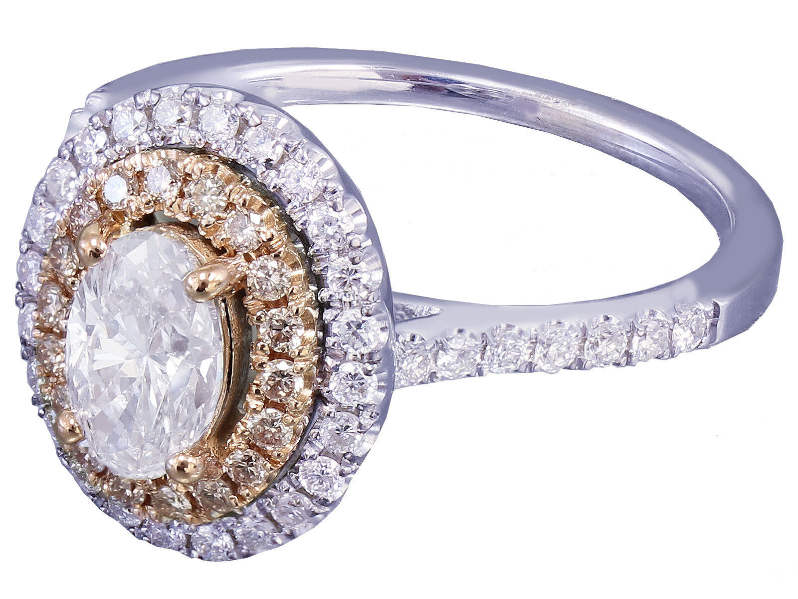 1.10ct 14k White and pink gold Oval Cut Diamond Engagement Ring Bridal Set Halo