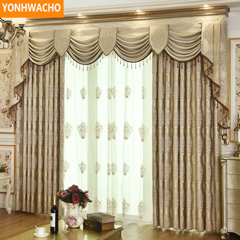 Luxury embroiderosso simple European coffee cloth curtain valance drapes N852