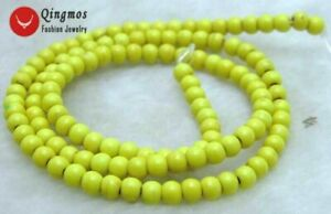 4mm-Yellow-Round-Natural-TURQUOISE-Beads-for-Jewelry-Making-Strand-15-034-los615