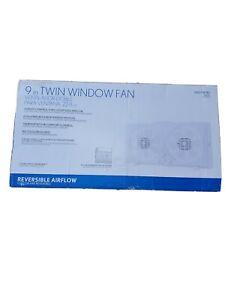 9-Inch Reversible Twin Window Fan 65-Watt Indoor Portable ...