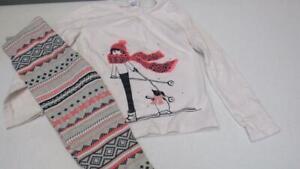 GYMBOREE-Polar-Pink-2pc-Girl-Skiing-Penguin-Shirt-W-Leggings-Size-6-EUC-TL39