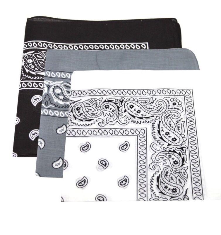 3er Pack Paisley-design Bandanas Schwarz Grau Und Weiß Bestes Angebot