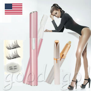 Women-Painless-Electric-Body-Facial-Hair-Eyebrow-Trimmer-Razor-Shaver-Remover-US