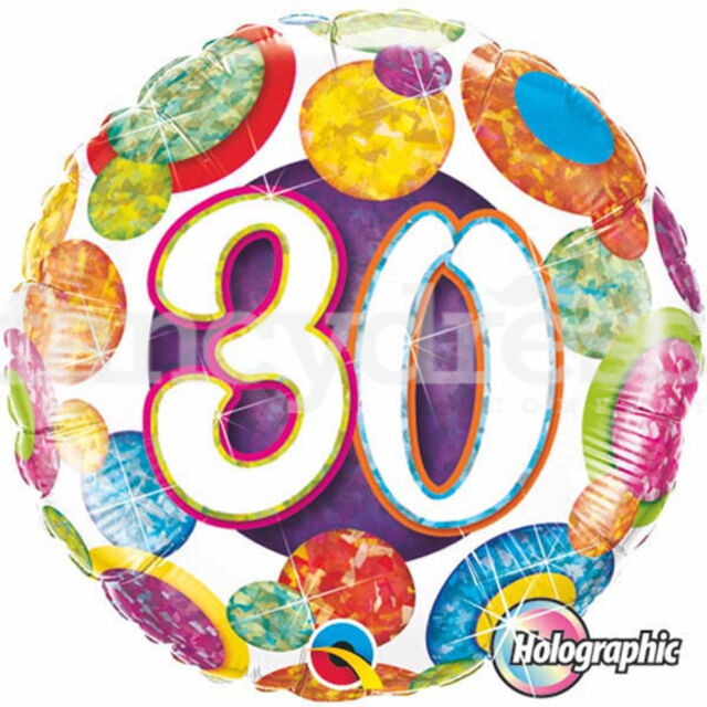 18 Happy 30th Birthday Balloons Holographic Spots Party Helium Foil Balloon NEW