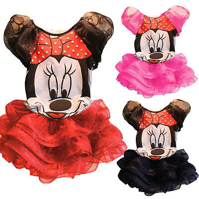 Lovely Baby Kids Girls Minnie Mouse Short Sleeve T-Shirt Skirt Outfits 1-6Y wsn