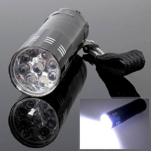 New Bright 9 LED Bulb Torch Flashlight Lamp Light Hand Torch Lighting Black #L