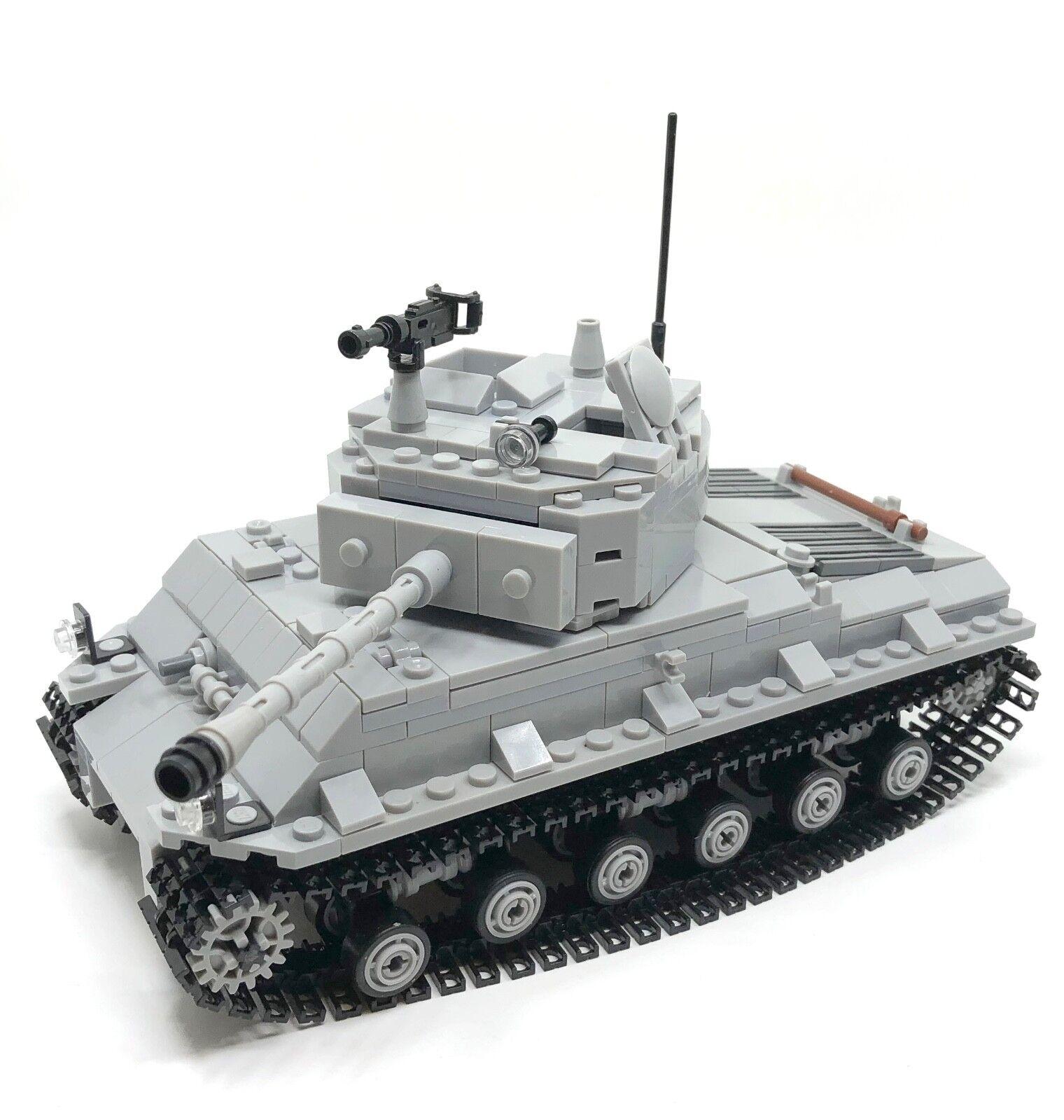 Por enCochego de la segunda guerra mundial M4A3E8 Tanque Sherman para Minifigura US Army m4 MOC