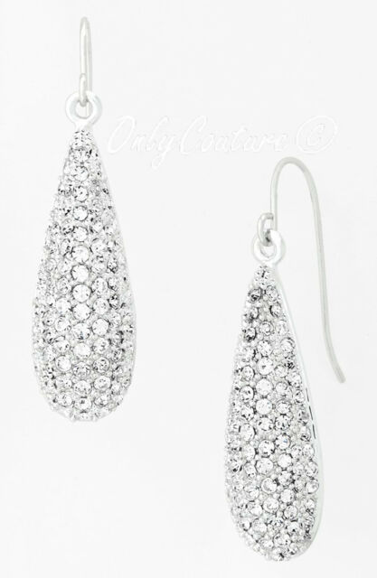 Ralph Lauren Silver Tone Clear Crystal Pave Teardrop Earrings 48