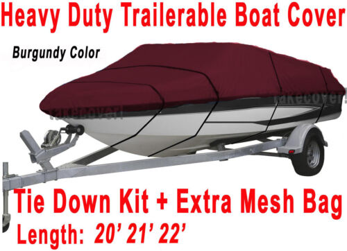20/' 21/' 22/' V-Hull Fish//Ski Trailerable Boat Cover Color Burgundy B1787R