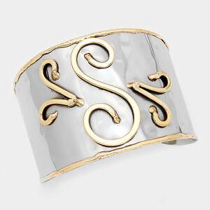 Monogram-Cuff-Bracelet-Initial-Bangle-2-TONE-SILVER-2-034-Wide-Letter-S-Personal