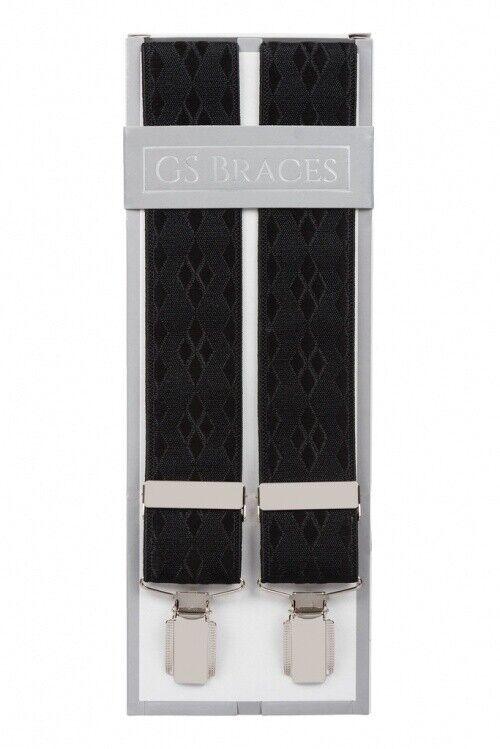 Black Formal Dresswear Suit Trouser Braces Suspenders Silver Clips XL XXL Long