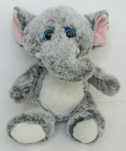 Kellytoy-Elephant-Plush-9-034-Sitting-Stuffed-Animal-Blue-Eyes-Baby-Toy-2016
