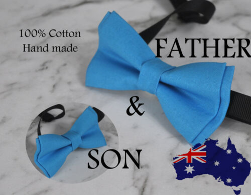 Father Son Match 100% Cotton Handmade Bright Blue AQUA  Bow Tie Bowtie Wedding