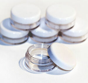 25-x-10ml-CLEAR-PLASTIC-SAMPLE-JARS-POTS-BEST-QUALITY-Glitter-Cream-jfw-25