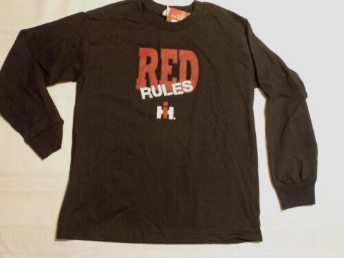 Internation Harvester IH Cotton Long Sleeve Black Shirt Big Boys M or XL NWT