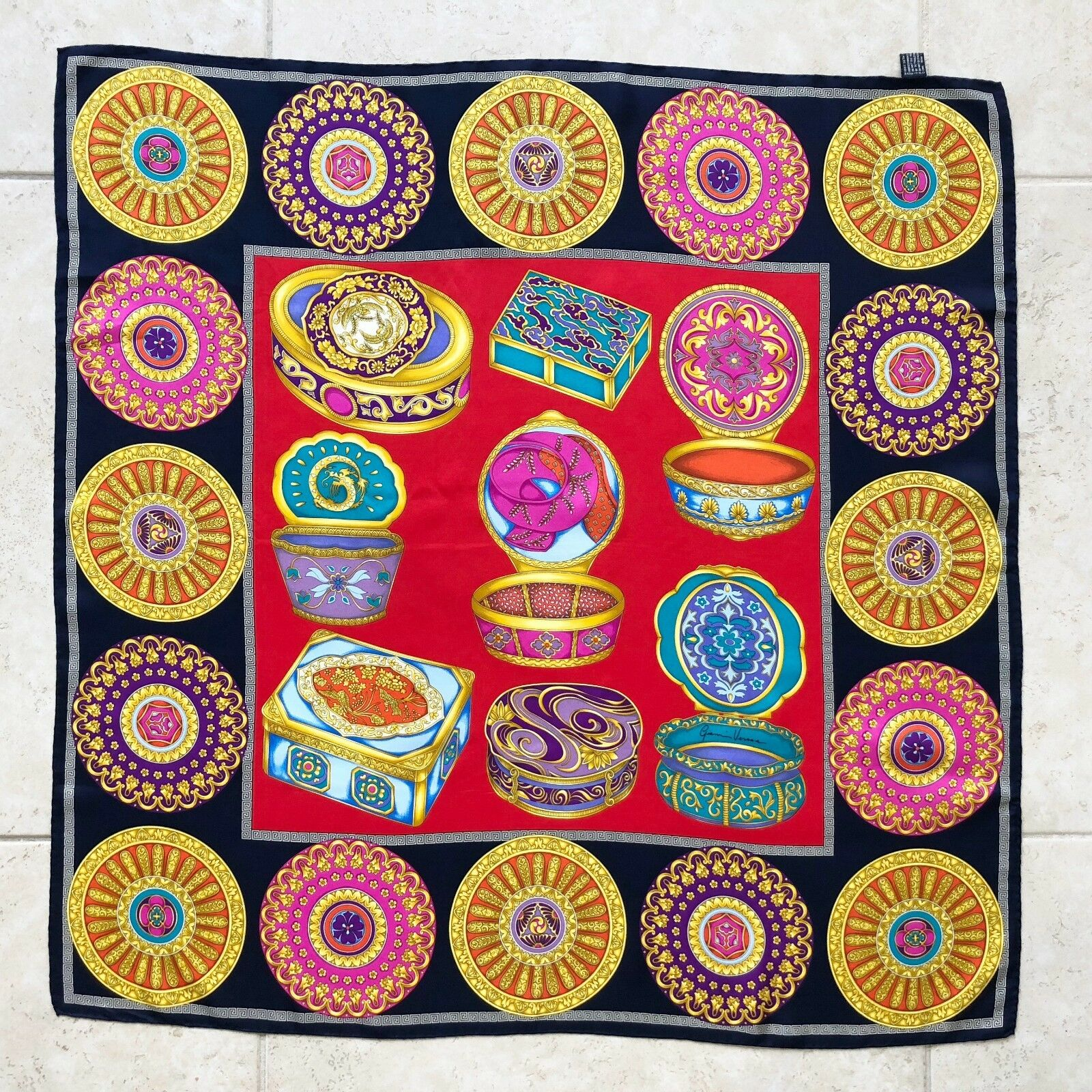 GIANNI VERSACE navy blue red silk scarf Japanese Jewelry Box size 34