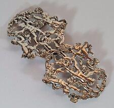 Victorian Art Nouveau Piercing HM Argento Infermiera fibbia della cintura-CHERUBINI 1893