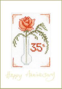Coral-Wedding-Anniversary-039-Happy-Anniversary-039-card-cross-stitch-kit-16-aida