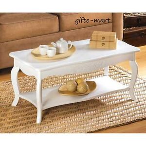 Distressed French Cottage Chic White Shabby Wood Sofa Small Coffee Table Shelf Ebay