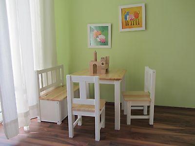 Kindersitzgruppe 1x Kindertisch 2x Kinderstuhl 1x Kindersitzbank NATUR weiß NEU