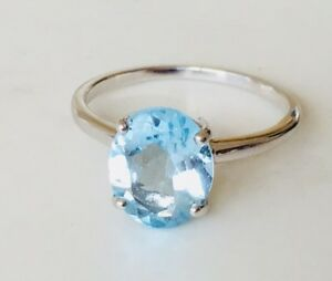 925-Sterling-Silver-Blue-Topaz-Ring-Gemstone-Oval-Claw-Solitaire-US-Size-7-8-9