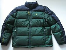 POLO RALPH LAUREN Men's Green/Navy Colorblocked Quilted Down Puffer Coat L