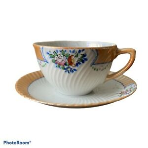 Vintage Trico Hand Painted Lusterware Cup And Saucer Flowers Nagoya
