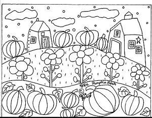 RUG-HOOK-CRAFT-PAPER-PATTERN-Pumpkin-Patch-FOLK-ART-ABSTRACT-PRIMITIVE-Karla-G