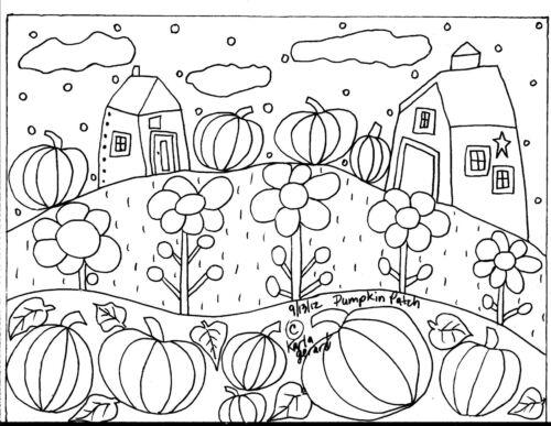 RUG HOOK CRAFT PAPER PATTERN Pumpkin Patch FOLK ART ABSTRACT PRIMITIVE Karla G