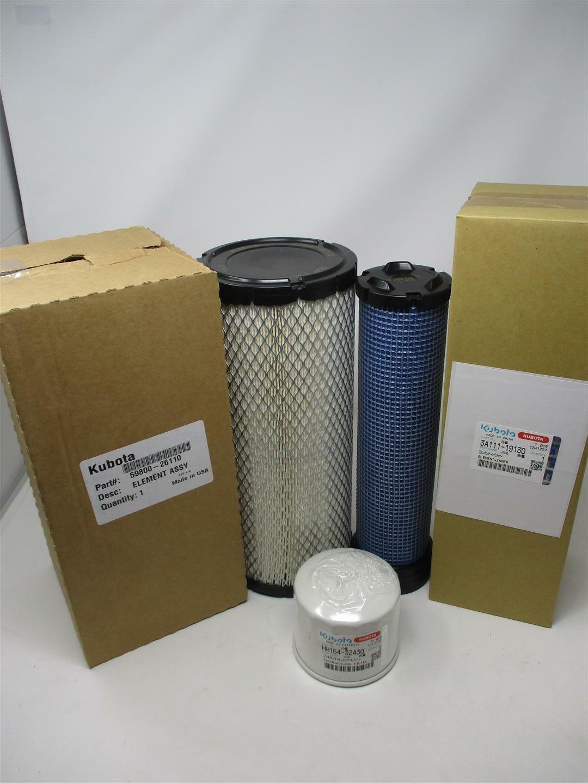 Filtro de aire & pre Kubota 59800-26110 & 3A111-19130 con HH164-32430 Filtro de aceite