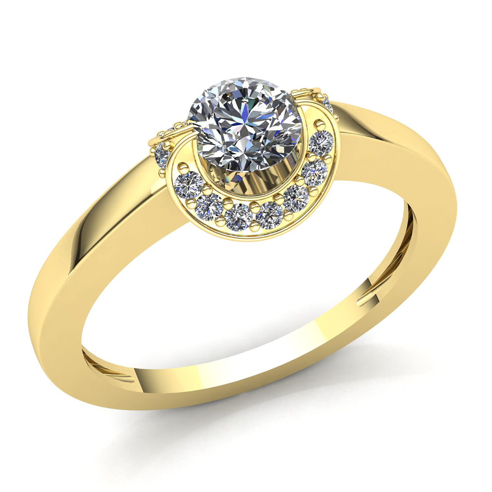 0.75ctw Round Cut Diamond Ladies Curved Halo Solitaire Engagement Ring 18K gold