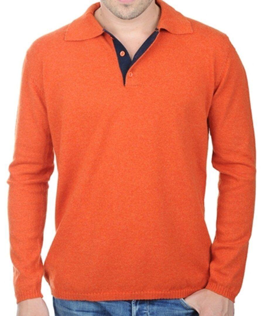 Balldiri 100% Cashmere Herren Polo Langarm 2-fädig dunkel Orange - nachtblau L