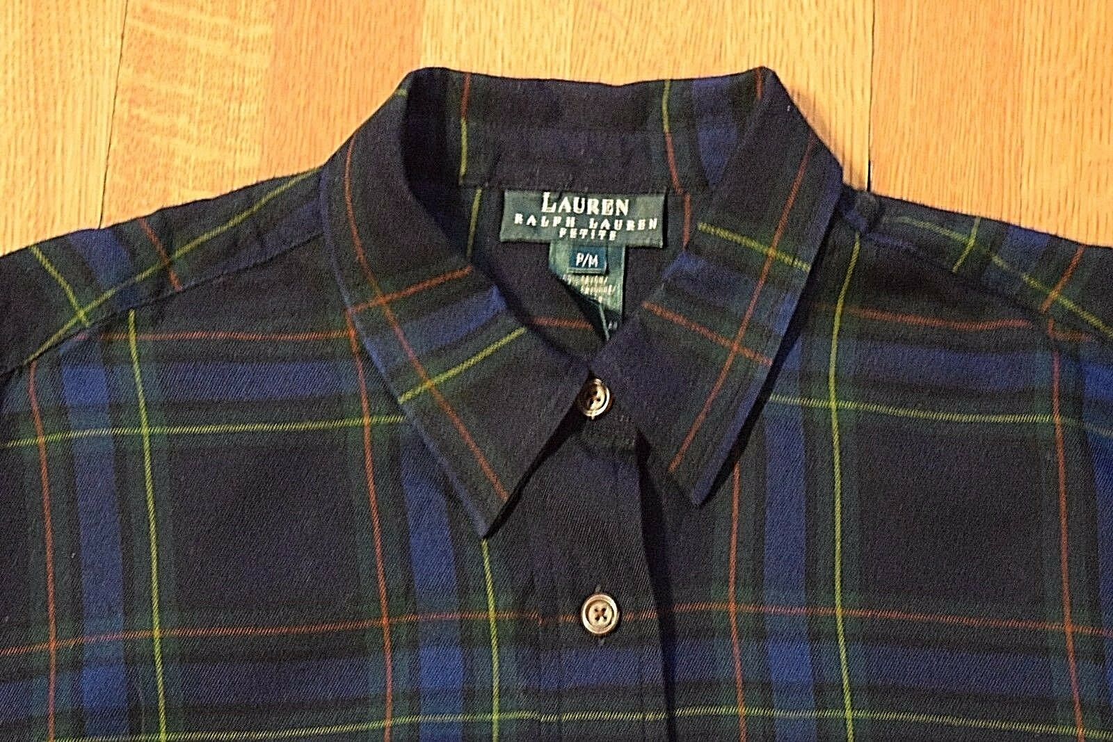 Ralph Lauren Plaid Button-Up Shirt Blouse Woherren Petite Medium Navy Blau Grün