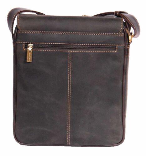 NEW Mens Leather Messenger Bag VINTAGE Distressed Brown iPad Casual Work MAN BAG
